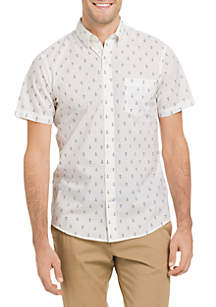 Big & Tall Short Sleeve Breeze Anchor Print Button Down Shirt
