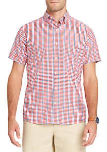 245adfb97f7 IZOD Big   Tall Short Sleeve Breeze Mini Plaid Button Down Shirt