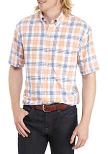 Big & Tall Short Sleeve Chambray Plaid Shirt