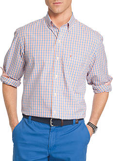 IZOD Big & Tall Essential Poplin Tattersall Shirt