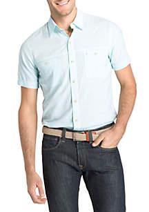 Big and Tall Short Sleeve Microstripe Chambray Button Down Shirt