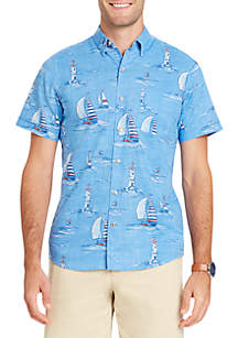 Big & Tall Short Sleeve Boat Reverse Print Poplin Button Down Shirt