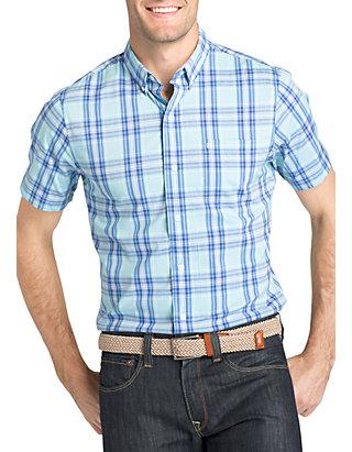 IZOD Mens Big and Tall Breeze Short Sleeve Button Down Plaid Shirt