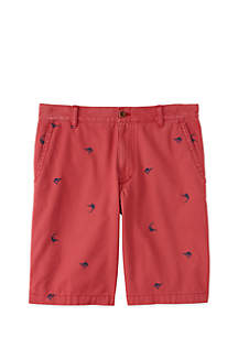 Flat Front Marlin Schiffli Shorts