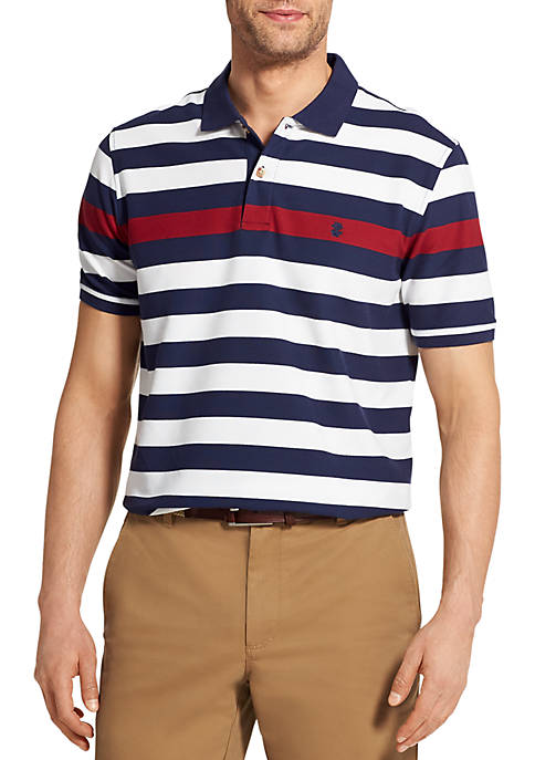 IZOD Short Sleeve Chest Stripe Pique Polo