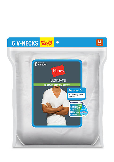 Hanes® 6 Pack White V-Neck T-shirt