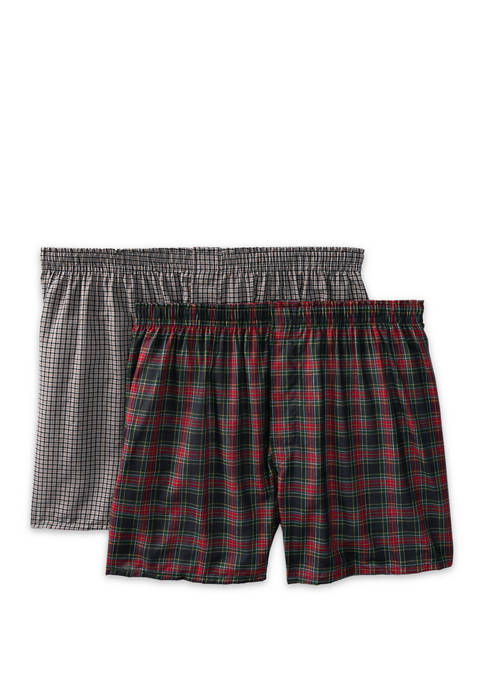 Hanes® Big & Tall Set of 2 Tartan