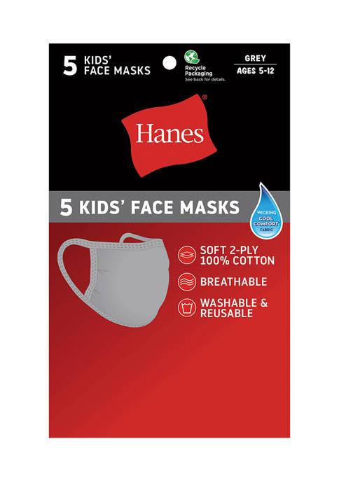 Hanes® Kids 5 Pack of Face Masks
