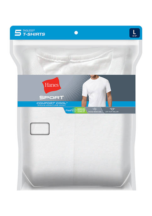 Set of 5 Ultimate Cotton Wicking Crew T-Shirts - White
