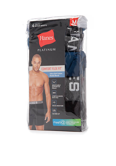 Platinum Comfort Flex Fit Ultra Soft Tagless® Boxer Briefs 4 Pack