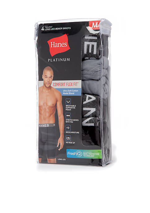 Platinum Comfort Flex Fit Ultra Soft Modal Tagless Long Leg Boxer Briefs 4-Pack