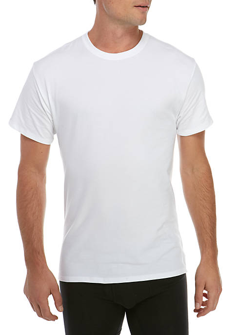 Hanes® 4-Pack White Stretch Crew Neck Shirts