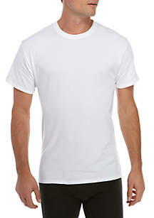 4-Pack White Stretch Crew Neck Shirts