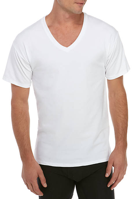 Hanes® 4-Pack Stretch V-Neck Shirt