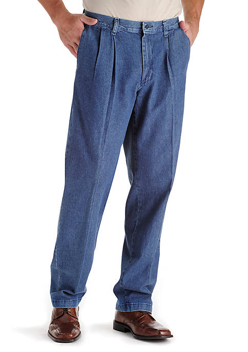 Big & Tall Stain Resistant Relaxed Comfort Fit Pleated Pants