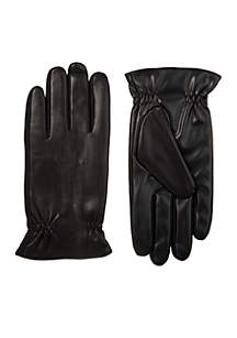 Stretch Faux Leather Touchscreen Gloves with Dual Thermaflex Lining