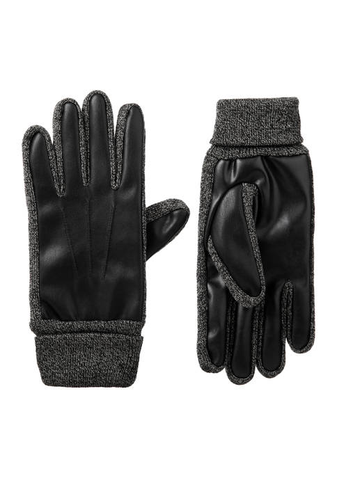 isotoner Mens Lined Faux Leather and Knit Touchscreen