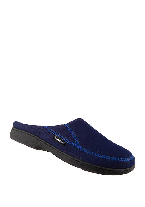 isotoner Mens Knit Twill Chandler Moccasin Slippers
