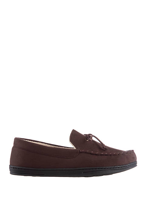 isotoner Mens Microsuede Moccasin Slippers