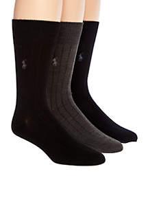 3-Pack Ribbed Dress Crew Socks
