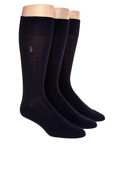 Polo Ralph Lauren 3-Pack Ribbed Dress Crew Socks