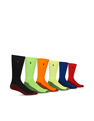 3b76bcf149 6PK Athletic Neon Marled Crew Socks