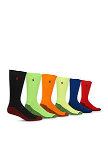 6PK Athletic Neon Marled Crew Socks