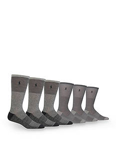 Polo Ralph Lauren Shades of Grey Mesh Crew Socks - 6 Pack