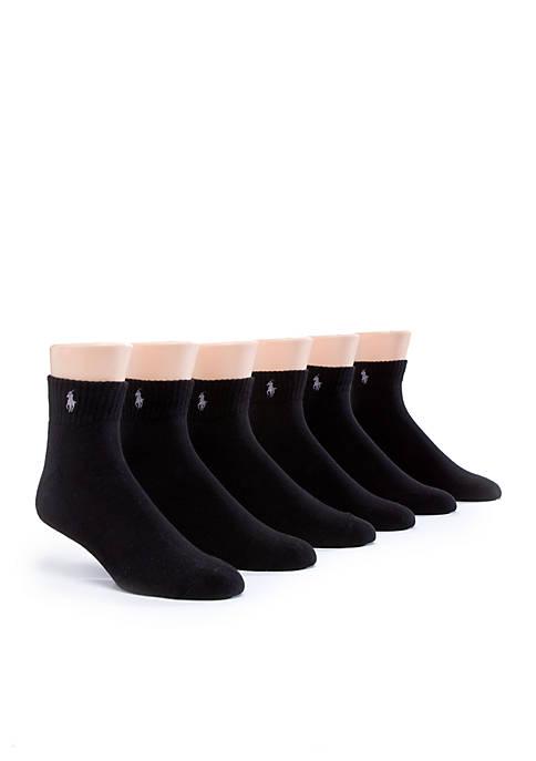 6-Pack Rib Quarter Length Socks