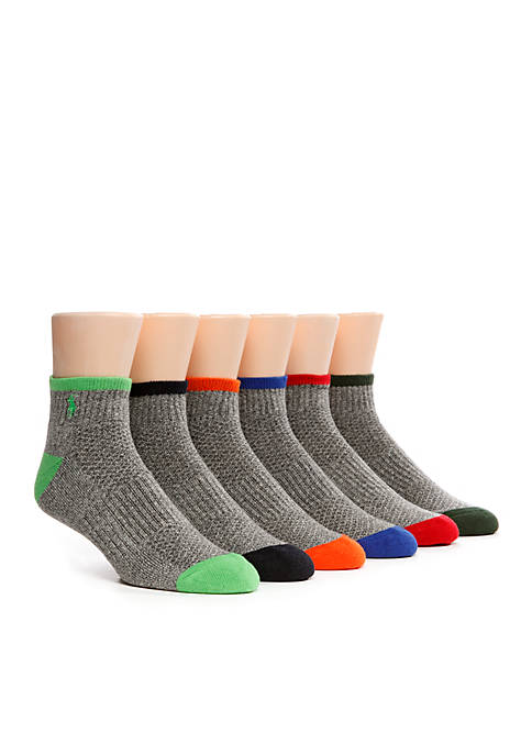 Polo Ralph Lauren 6-Pack Technical Sport Quarter Socks