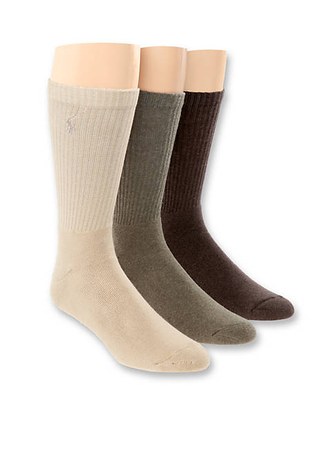 Polo Ralph Lauren 3-Pack Crew Rib Cushioned Socks