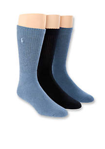 3-Pack Crew Rib Cushioned Socks