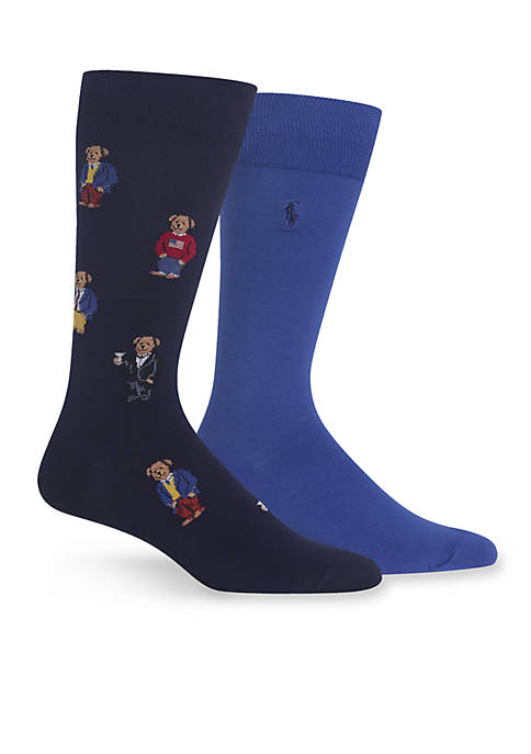 Polo Ralph Lauren 2-Pack Assorted Bear Socks