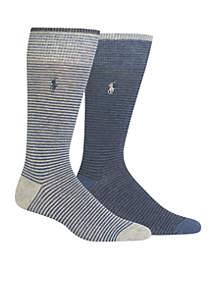 Set of 2 Heathered Stripe Socks