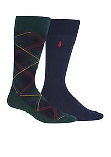 2-Pack Men's Classic Tartan Black Watch Crew Socks