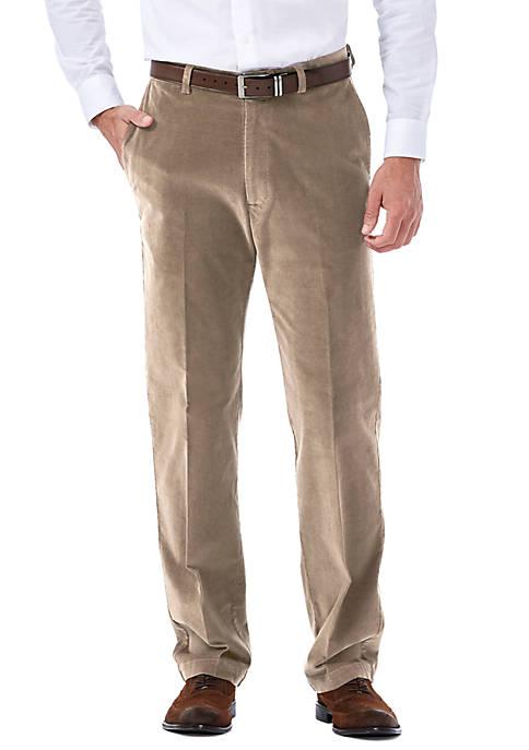Classic-Fit Stretch Corduroy Flat-Front Pants