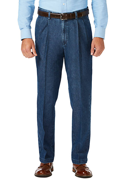 Haggar® Stretch Denim Pleated Trousers