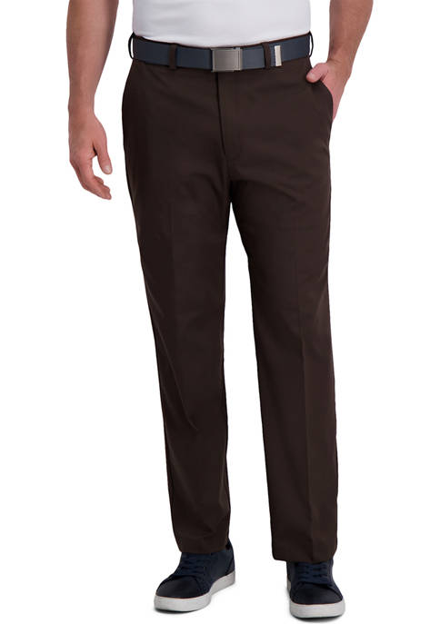 Mens Cool Right® Performance Flex Solid Classic Fit Flat Front Pants