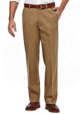 d59a3f6a10 Haggar® Premium Stretch No Iron Khaki Classic Fit Hidden Expandable  Waistband Flat Front Pants ...