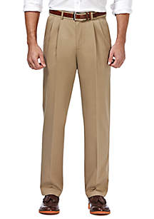 Haggar® Premium Stretch No Iron Khaki Classic Fit Hidden Expandable Waistband Pleated Pants