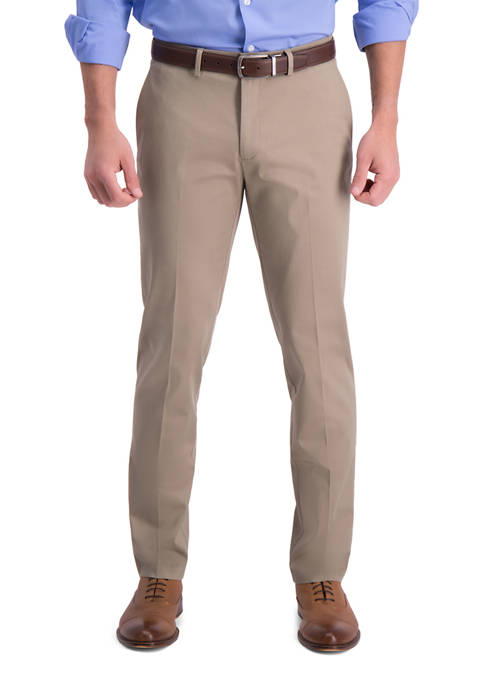 Mens Iron Free Premium Khaki Slim Straight Fit Flat Front Hidden Comfort Waistband Casual Pants
