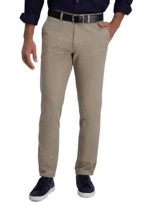 Mens Motion Khaki Slim Straight Flat Front Casual Pants