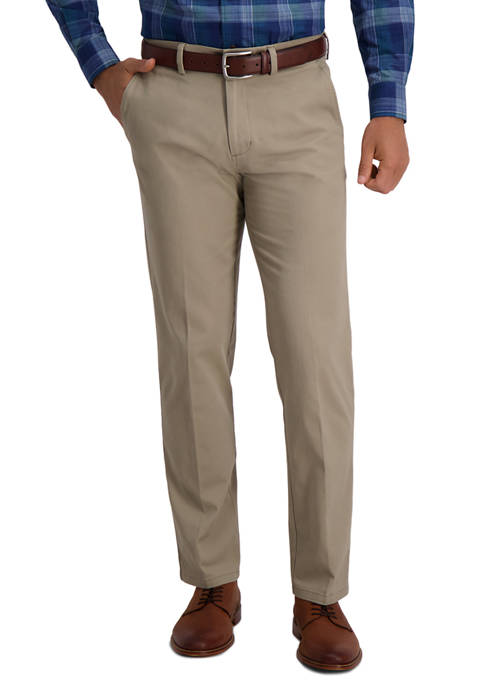 Mens Motion Khaki Straight Fit Flat Front Casual Pants
