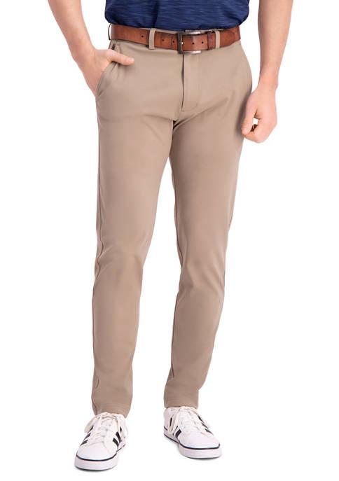 Mens Active Series Slim Fit Flat Front Tech Pants