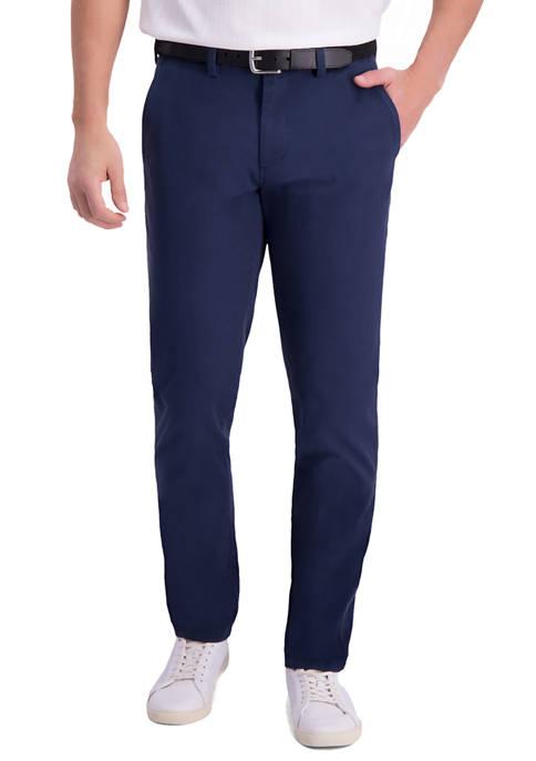 Mens Motion Khaki Slim Tapered Flat Front Casual Pants