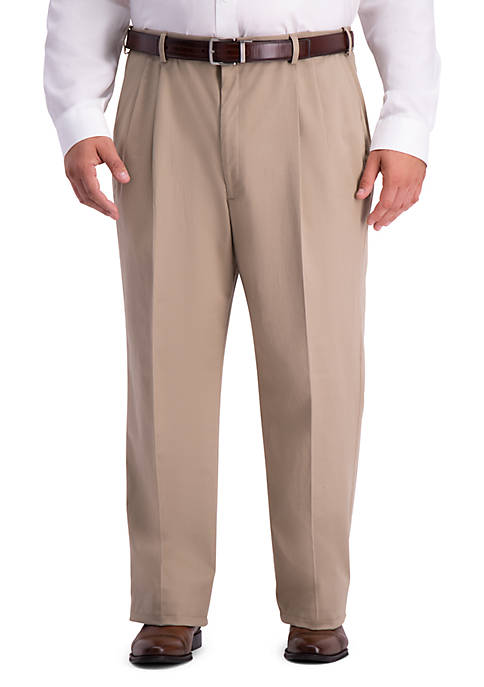 Haggar Big & Tall Work To Weekend PRO Relaxed Fit Pleat Front Casual Pants
