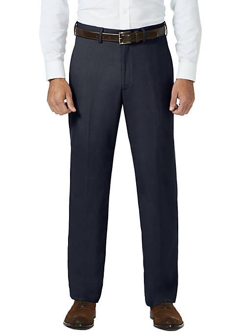 Sharkskin Classic Fit Flat Front Expandable Waist Dress Pants