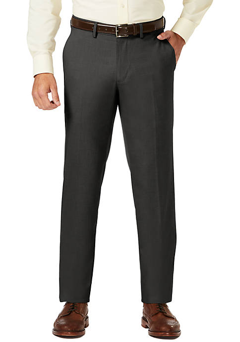 Sharkskin Striaght Fit Super Flex Waistband Flat Front Dress Pants