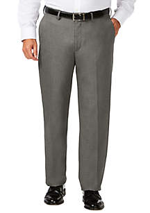 Haggar® Big & Tall J.M. Haggar® Sharkskin Classic Fit Hidden Comfort Waistband Flat Front Dress Pants