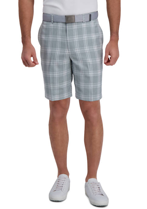 Mens Cool 18 PRO Stretch Kitchen Plaid Flat Front Straight Fit Expandable Waist Shorts